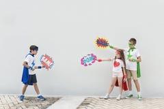 Superheroes Kids Costume Bubble Comic Concept Stock Images