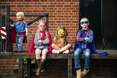 Superheroes Kids Friends Brave Adorable Concept. Superheroes Kids Friends Brave Adorable Royalty Free Stock Images