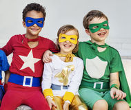 Superheroes Kids Friends Playing Togetherness Concept Royalty Free Stock Image