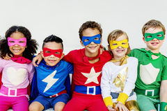 Superheroes Kids Friends Playing Togetherness Concept.  royalty free stock image