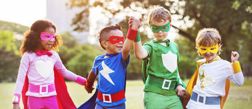 Superheroes Kids Friends Playing Togetherness Fun Concept Royalty Free Stock Photos