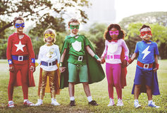 Superheroes Kids Friends Playing Togetherness Fun Concept. Superheroes Kids Friends Playing Togetherness Fun Royalty Free Stock Photo