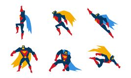 Superheroes set, superman character men with super powers vector Illustration on a white background royalty free illustration