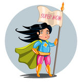 Superheroes Super Mom Family stock illustration