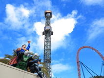 Superhero team at free fall tower Stock Images