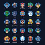 Superheroes and Villains Flat Vectors Set vector illustration