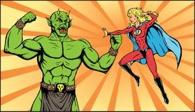 Superheroine battle. Superheroine battling a monstrous bad guy. Part of a series Royalty Free Stock Image