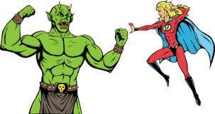 Superheroine battle. Superheroine battling a monstrous bad guy Stock Photos
