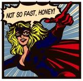 Superheroine för stil för humorbok för popkonst med att peka för superherovektor för finger den kvinnliga illustrationen stock illustrationer