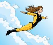 Superheroine flight. Superheroine flying free through the clouds Royalty Free Stock Images