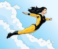 Superheroine flight. Asian superhero flying free through the clouds Royalty Free Stock Photos