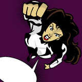 Superheroine flying with speech bubble Stock Photos