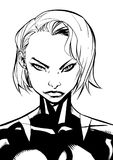 Superheroine Portrait Line Art. Black and white illustration of the portrait of a powerful superheroine Stock Image