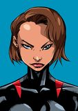 Superheroine Portrait Line Art 2. Comics illustration of the portrait of a powerful superheroine looking at camera with a tough facial expression isolated on Royalty Free Stock Images