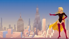 Superheroine Power in City Royalty Free Stock Photos
