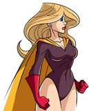Superheroine Side Profile. Side view illustration of a powerful and determined superheroine with yellow cape looking forward ready for action on white background Royalty Free Stock Image