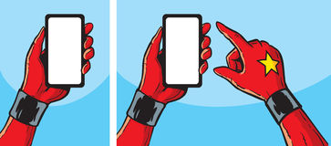 Superheroine with smartphone Royalty Free Stock Images