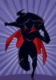 Superheroine som kör den abstrakta bakgrundskonturn royaltyfri illustrationer