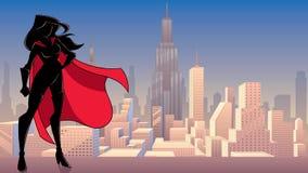 Free Superheroine Standing Tall City Silhouette Stock Image - 134802361