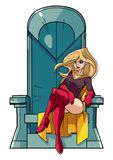 Superheroine on Throne. Front view full length illustration of a  cartoon superheroine sitting on an iron throne as a positive concept for power and leadership Royalty Free Stock Image