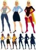 Superheroine Transformation. Ordinary woman transforms into superheroine. No transparency and gradients used Stock Photos