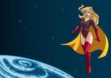Superheroinefliegen im Raum Lizenzfreies Stockbild