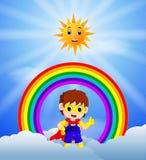 Superherojongen en hemel op de regenboog vector illustratie