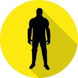 Superherokostuum Met vlakke schaduw Vector illustratie Stock Afbeelding