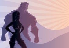 Superheropar 3 royaltyfri illustrationer