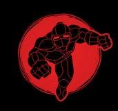Superherorobot het vliegen actie, Beeldverhaalsuperhero stock illustratie