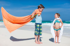 Superheros at a beach Stock Photography