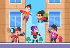 Superheroungebakgrund Komiska tecken för barn, lyckliga ungar för tecknad film i superherodräkter på den stads- vektorn vektor illustrationer
