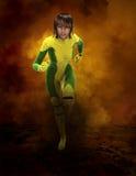 Superherovrouw die, Gevaar, Illustratie lopen Stock Afbeeldingen