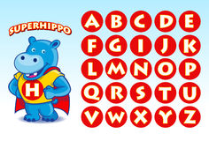 SuperHippo. A funny mascot of Hippo in superhero costume, easy to edit and the initials can be change to describe the name of your company or your project Royalty Free Stock Images