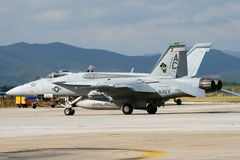 Superhornisse der US-Marine-F-18 Stockbild