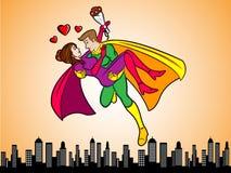 Superhéroes en amor Fotografía de archivo libre de regalías