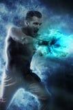 Superhuman che fa uno scoppio di energia Immagini Stock Libere da Diritti