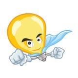 Superideen-Glühlampe-Zeichentrickfilm-Figur vektor abbildung