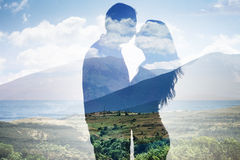Superimposed Of Couple Against Scenic Backdrop Stock Photos
