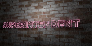 SUPERINTENDENT - Glowing Neon Sign on stonework wall - 3D rendered royalty free stock illustration Royalty Free Stock Photos