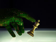 Superior Artificial Intelligence Wining Chess Concept. Computer artificial intelligence hand concept of check mate against a white king chess piece. AI