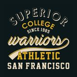 Superior college warriors. Design letters and numbers superior college warriors for t-shirts Royalty Free Stock Photo