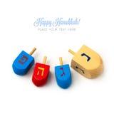 Superior de giro de madeira do dreidel dos feriados do Hanukkah isolado no fundo branco Imagens de Stock