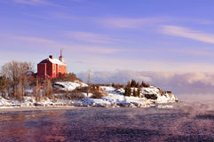 Superior de Marquette Harbor Lighthouse On Lake, la península superior de Michigan Fotografía de archivo