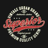 Superior denim, vintage urban brand graphic for t-shirt.  Royalty Free Stock Images