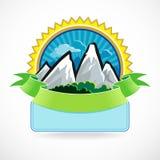 Superior - escritura de la etiqueta de la montaña Fotos de archivo
