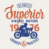 Superior motorcycle 003. Vector illustration with a Motorcycle Rider and hand-made lettering / Cafe Racer T-shirt graphics / Vintage typography for apparel Stock Photo