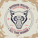 Superior wolfes t-shirt graphic. Design of the vector typographic of t-shirts and for other uses. Vector illustration Royalty Free Stock Image