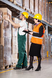 Superior and worker in warehouse. Elder female superior and young male worker in warehouse Royalty Free Stock Images
