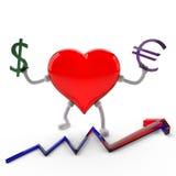 Superioridad del euro sobre el dólar Fotografía de archivo libre de regalías